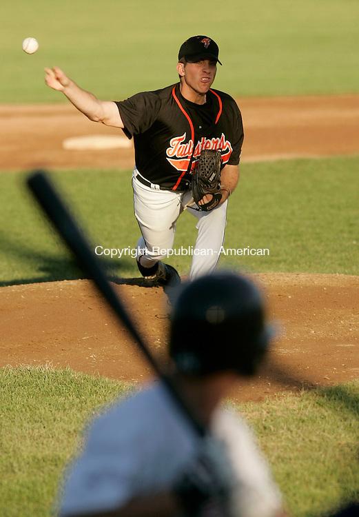 TORRINGTON, CT 02 July 2005 -070205BZ03- Torrington Twisters #21, Travis Martin fires to the mound against<br />  Team U.S.A. at Fuessenich Park in Torrington Saturday evening.<br /> Jamison C. Bazinet Photo