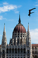 Picture by Rogan Thomson/SWpix.com - 30/07/2017 - High Diving - Fina World Championships 2017 -  Batthyany Ter, Budapest, Hungary - Steve Lo Bue of Great Britain in action during the Final of the Men's High Dive competition.