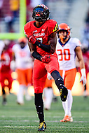 College Park, MD - OCT 27, 2018: Maryland Terrapins wide receiver Dontay Demus (7) celebrates a big first down late in the third quarter of game between Maryland and Illinois at Capital One Field at Maryland Stadium in College Park, MD. The Terrapins defeated Illinois to move to 5-3 on the season. (Photo by Phil Peters/Media Images International)