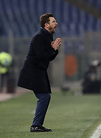 Football, Serie A: AS Roma - Bologna FC, Olympic stadium, Rome, February 18, 2019. <br /> Roma's coach Eusebio Di Francesco speaks to his players during the Italian Serie A football match between AS Roma and Bologna FC at Olympic stadium in Rome, on February 18, 2019.<br /> UPDATE IMAGES PRESS/Isabella Bonotto
