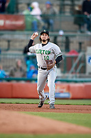 Clinton LumberKings third baseman Joe Rizzo (10) throws to first base during a game against the South Bend Cubs on May 5, 2017 at Four Winds Field in South Bend, Indiana.  South Bend defeated Clinton 7-6 in nineteen innings.  (Mike Janes/Four Seam Images)