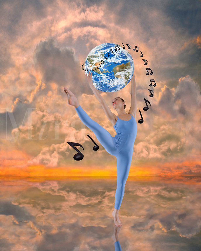 Digital illustration: female modern dancer holding the Earth with musical notes against a heavenly sky.