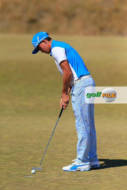 Rickie FOWLER (USA) takes his putt on the 17th green during Friday's Round 2 of the 2015 U.S. Open 115th National Championship held at Chambers Bay, Seattle, Washington, USA. 6/19/2015.<br /> Picture: Golffile | Eoin Clarke<br /> <br /> <br /> <br /> <br /> All photo usage must carry mandatory copyright credit (&copy; Golffile | Eoin Clarke)
