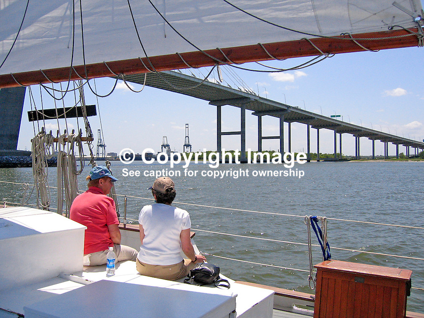 Cooper River Bridge photographed from on board the schooner, Pride, in Charleston Harbour, S Carolina, USA, at the confluence of the Cooper and Ashley Rivers, 200705150143.<br />