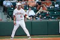 Texas Longhorns  PPP Jacob Felts #12 at bat during the NCAA baseball game against the Central Arkansas Bears on April 24, 2012 at the UFCU Disch-Falk Field in Austin, Texas. The Longhorns beat the Bears 4-2. (Andrew Woolley / Four Seam Images).