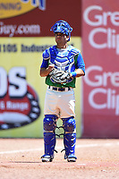 Lexington Legends catcher Luis Villegas (15) in the bullpen during a game against the Hagerstown Suns on May 19, 2014 at Whitaker Bank Ballpark in Lexington, Kentucky.  Lexington defeated Hagerstown 10-8.  (Mike Janes/Four Seam Images)