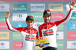 Lotto-Soudal best team on the podium at the end of Stage 13 of the La Vuelta 2018, running 174.8km from Candas, Carreno to Valle de Sabero, La Camperona, Spain. 7th September 2018.<br /> Picture: Unipublic/Photogomezsport | Cyclefile<br /> <br /> <br /> All photos usage must carry mandatory copyright credit (&copy; Cyclefile | Unipublic/Photogomezsport)