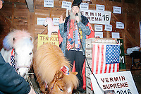 Standing next to ponies and with a boot on his head, Satirical presidential candidate Vermin Supreme delivers a stump speech at Ten Rod Farm in Rochester, New Hampshire. Supreme's platform advocates a pony-based economy, using zombies to solve the energy crisis, and other outlandish ideas. Supreme has been on the New Hampshire primary ballot in 2008 and 2012, though he has began running for president in 1992. Vermin Supreme will be on the Democratic party ballot in the 2016 New Hampshire primary.