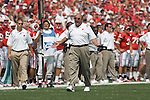 MADISON, WI - SEPTEMBER 4: Head coach Barry Alvarez of the Wisconsin Badgers argues about a replay that took away a touchdown against the University of Central Florida Golden Knights at Camp Randall Stadium on September 4, 2004 in Madison, Wisconsin. Alvarez recorded his 100th victory as a head coach at Wisconsin. The Badgers beat the Golden Knights 34-6. (Photo by David Stluka)
