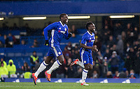 Kurt Zouma (left) of Chelsea celebrates the penalty win during the The Checkatrade Trophy match between Chelsea U23 and Oxford United at Stamford Bridge, London, England on 8 November 2016. Photo by Andy Rowland.
