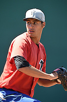 Lansing Lugnuts pitcher Alonzo Gonzalez (11) during practice before a game against the South Bend Silver Hawks on June 6, 2014 at Cooley Law School Stadium in Lansing, Michigan.  South Bend defeated Lansing 13-5.  (Mike Janes/Four Seam Images)