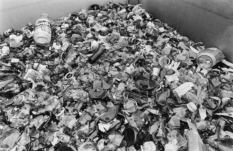 A cardboard bin filled with crushed glass outside the bonded recycled company's building at 39 Q Street South West in neighborhood, on April 21, 1994. (Photo by Chris Martin/CQ Roll Call via Getty Images)