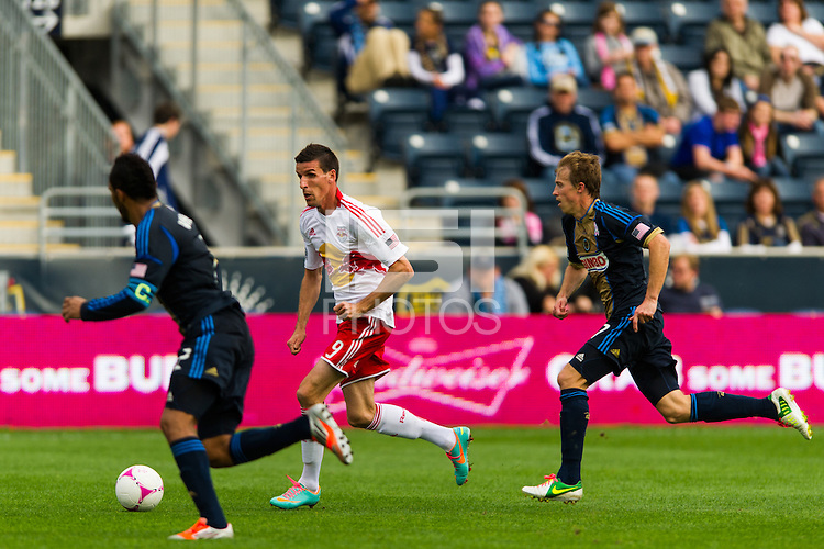 Sebastien Le Toux (9) of the New York Red Bulls brings the ball up. The New York Red Bulls defeated the Philadelphia Union 3-0 during a Major League Soccer (MLS) match at PPL Park in Chester, PA, on October 27, 2012.