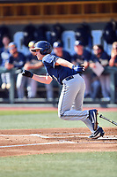 Pittsburgh Panthers designated hitter Caleb Parry (11) runs to first base during a game against the North Carolina Tar Heels at Boshamer Stadium on March 17, 2018 in Chapel Hill, North Carolina. The Tar Heels defeated the Panthers 4-0. (Tony Farlow/Four Seam Images)