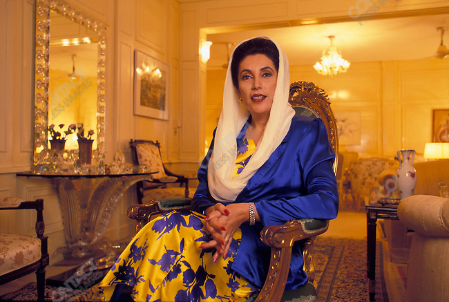 Former Pakistani Prime Minister Benazir Bhutto in her residence, Karachi, Pakistan, March 1999