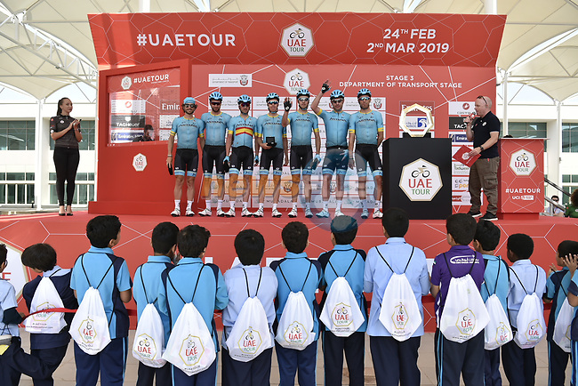Astana Pro Team presented at sign on before the start of Stage 3 of the 2019 UAE Tour, running 179km form Al Ain to Jebel Hafeet, Abu Dhabi, United Arab Emirates. 26th February 2019.<br /> Picture: LaPresse/Fabio Ferrari | Cyclefile<br /> <br /> <br /> All photos usage must carry mandatory copyright credit (© Cyclefile | LaPresse/Fabio Ferrari)