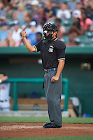 Umpire Ricardo Estrada during a game between the Burlington Bees and South Bend Cubs on July 22, 2016 at Four Winds Field in South Bend, Indiana.  South Bend defeated Burlington 4-3.  (Mike Janes/Four Seam Images)