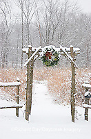 63821-174.13 Rustic fence & arbor with holiday wreath near prairie in winter, Marion Co. IL