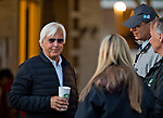 LOUISVILLE, KY - MAY 01: Bob Baffert flashes a smile during morning workouts as he talks with WinStar Farm's Eliott Walden at Churchill Downs on May 1, 2018 in Louisville, Kentucky. (Photo by Scott Serio/Eclipse Sportswire/Getty Images)