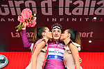 Elia Viviani (ITA) Quick-Step Floors retains the Maglia Ciclamino on the podium at the end of Stage 7 of the 2018 Giro d'Italia, a flat stage running 159km from Pizzo to Praia a Mare, Italy. 11th May 2018.<br /> Picture: LaPresse/Massimo Paolone   Cyclefile<br /> <br /> <br /> All photos usage must carry mandatory copyright credit (&copy; Cyclefile   LaPresse/Massimo Paolone)