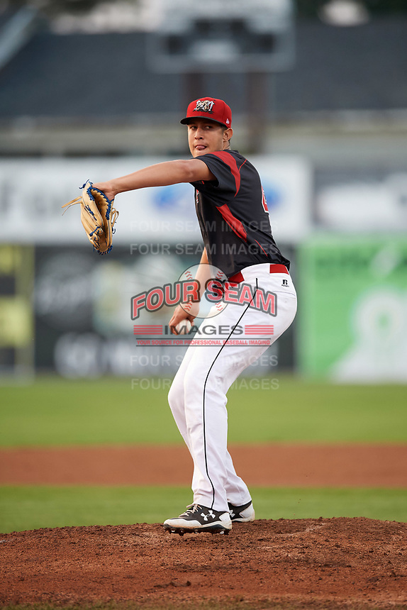 Batavia Muckdogs starting pitcher Osman Gutierrez (43) delivers a warmup pitch a game against the Mahoning Valley Scrappers on August 30, 2017 at Dwyer Stadium in Batavia, New York.  Batavia defeated Mahoning Valley 5-1.  (Mike Janes/Four Seam Images)