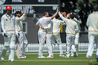 The Firebirds celebrate Wellington's Iain McPeake's dismissal of Canterbury's Chad Bowe during day four of the Plunket Shield cricket match between the Wellington Firebirds and Canterbury at Basin Reserve in Wellington, New Zealand on Friday, 1 November 2019. Photo: Dave Lintott / lintottphoto.co.nz