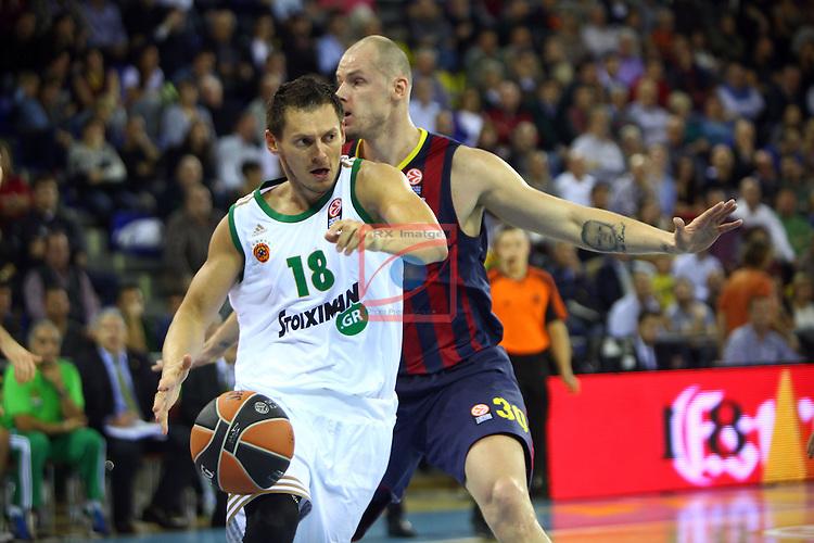 Euroleague Basketball-Regular Season Round 5.<br /> FC Barcelona vs Panathinaikos Athens: 78-69.<br /> Janis Blums vs Maciej Lampe.
