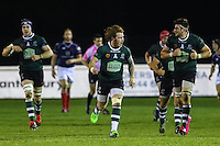 Dan Mugford of Nottingham Rugby (centre) celebrates scoring a last minute drop kick to win the game during the Greene King IPA Championship match between London Scottish Football Club and Nottingham Rugby at Richmond Athletic Ground, Richmond, United Kingdom on 16 October 2015. Photo by David Horn.