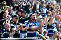 Bath Rugby supporters celebrate a try. European Rugby Challenge Cup Quarter Final, between Bath Rugby and CA Brive on April 1, 2017 at the Recreation Ground in Bath, England. Photo by: Patrick Khachfe / Onside Images