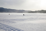 Newfound Lake in Bristol, New Hampshire USA during the winter months.