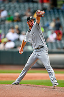 El Paso Chihuahuas starting pitcher Michael Kelly (25) delivers a pitch to the plate against the Salt Lake Bees in Pacific Coast League action at Smith's Ballpark on July 10, 2016 in Salt Lake City, Utah. El Paso defeated Salt Lake 11-2. (Stephen Smith/Four Seam Images)