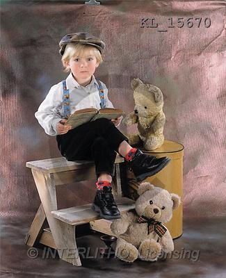 Interlitho, Alberto, CHILDREN, photos, boy, teddies, book(KL15670,#K#) Kinder, niños