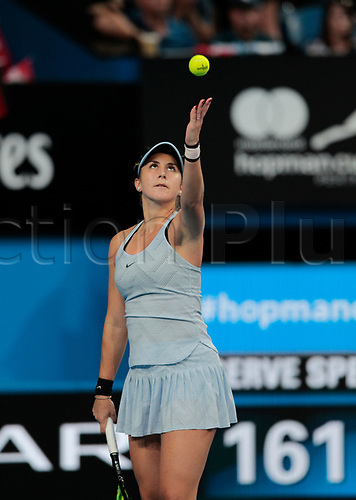 6th January 2018, Perth Arena, Perth, Australia; MasterCard Hopman Cup Tennis Final; Belinda Bencic of Team Switzerland serves to Angelique Kerber of Team Germany during the second set of the Final Kerber won 2 sets to 0