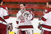 Raphael Girard (Harvard - 30) joins fellow starters Marshall Everson (Harvard - 21) and Danny Biega (Harvard - 9) on the blue line. - The Harvard University Crimson defeated the visiting Brown University Bears 3-2 on Friday, November 2, 2012, at the Bright Hockey Center in Boston, Massachusetts.
