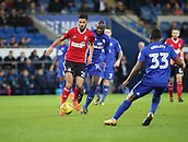 31st October 2017, Cardiff City Stadium, Cardiff, Wales; EFL Championship football, Cardiff City versus Ipswich Town; Kevin Bru of Ipswich Town is forced to play the ball back as he is approached by Sol Bamba of Cardiff City