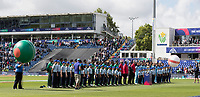Teams, officials and mascots stand for the National Anthems during England vs Bangladesh, ICC World Cup Cricket at Sophia Gardens Cardiff on 8th June 2019