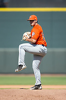 Buies Creek Astros relief pitcher Nick Hernandez (15) in action against the Winston-Salem Dash at BB&T Ballpark on April 16, 2017 in Winston-Salem, North Carolina.  The Dash defeated the Astros 6-2.  (Brian Westerholt/Four Seam Images)