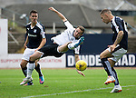 Dundee v St Johnstone...15.08.15  SPFL   Dens Park, Dundee<br /> Chris Kane struggles to reach the ball<br /> Picture by Graeme Hart.<br /> Copyright Perthshire Picture Agency<br /> Tel: 01738 623350  Mobile: 07990 594431