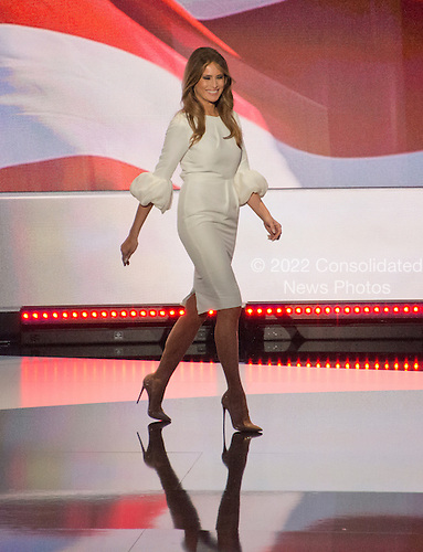 Melania Trump arrives to make remarks at the 2016 Republican National Convention at the Quicken Loans Arena in Cleveland, Ohio on Monday, July 18, 2016.<br /> Credit: Ron Sachs / CNP<br /> (RESTRICTION: NO New York or New Jersey Newspapers or newspapers within a 75 mile radius of New York City)
