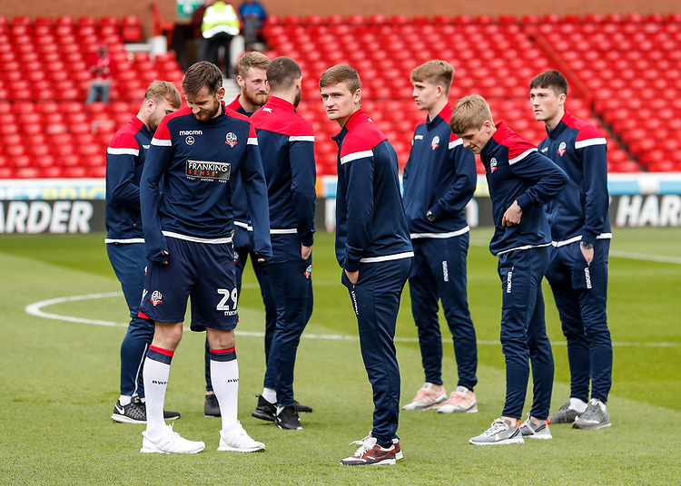 Bolton Wanderers players inspecting the pitch before the match<br /> <br /> Photographer Andrew Kearns/CameraSport<br /> <br /> The EFL Sky Bet Championship - Nottingham Forest v Bolton Wanderers - Sunday 5th May 2019 - The City Ground - Nottingham<br /> <br /> World Copyright © 2019 CameraSport. All rights reserved. 43 Linden Ave. Countesthorpe. Leicester. England. LE8 5PG - Tel: +44 (0) 116 277 4147 - admin@camerasport.com - www.camerasport.com