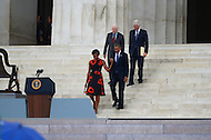 August 28, 2013  (Washington, DC)   President and Mrs. Barack Obama enter the steps of the Lincoln Memorial, with former Presidents Jimmy Carter and Bill Clinton,  during the 50th anniversary of the 1963 March on Washington August 28, 2013.  (Photo by Don Baxter/Media Images International)