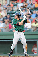 Outfielder Brandon Nimmo (9) of the Savannah Sand Gnats bats in a game against the Greenville Drive on Wednesday, May 29, 2013, at Fluor Field at the West End in Greenville, South Carolina. Greenville won, 5-1. (Tom Priddy/Four Seam Images)