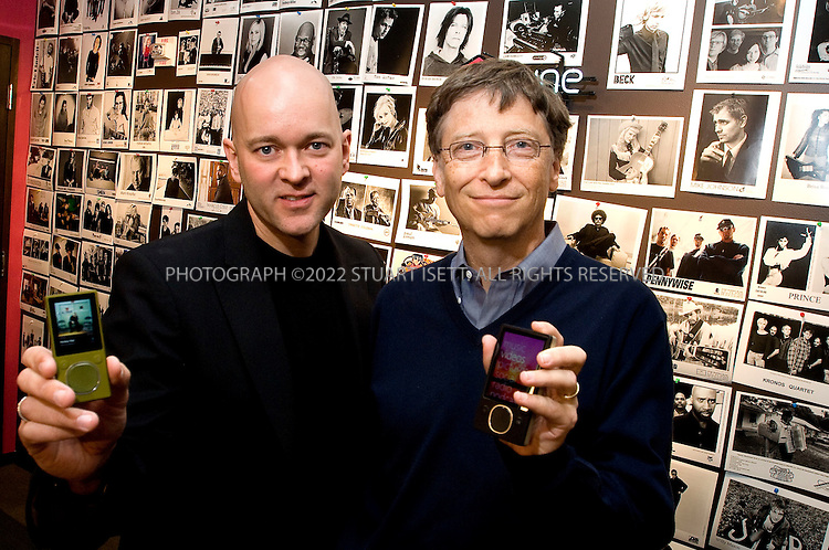 10/2/2007--Redmond WA< USA..J Allard (left), Corporate Vice President, Design and Development, Entertainment and Devices Division at Microsoft and, Bill Gates (right), Chairman, Microsoft Corp. posing in the company's offices with the latest generation  of Microsoft's Zune music player...©2007 Stuart Isett. All rights reserved