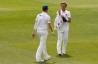 Aaron Beard (right) of Essex prepares to bowl during Kent CCC vs Essex CCC, Friendly Match Cricket at The Spitfire Ground on 27th July 2020