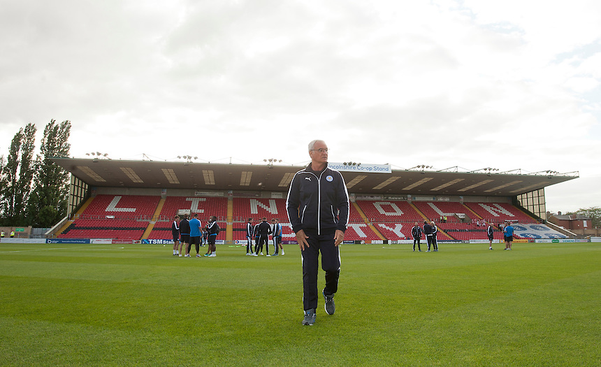 Leicester City Manager Claudio Ranieri arrives at Sincil Bank Stadium, Lincoln ahead of his sides pre-season friendly against Lincoln City<br /> <br /> Photographer Chris Vaughan/CameraSport<br /> <br /> Football - Football Friendly - Lincoln City v Leicester City - Tuesday 21st July 2015 - Sincil Bank - Lincoln<br /> <br /> &copy; CameraSport - 43 Linden Ave. Countesthorpe. Leicester. England. LE8 5PG - Tel: +44 (0) 116 277 4147 - admin@camerasport.com - www.camerasport.com