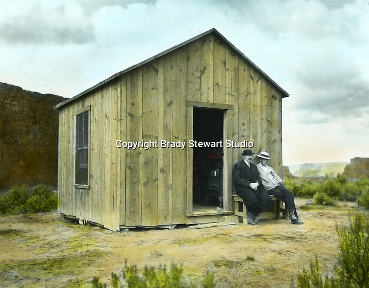 Jerome ID: Construction cabin near the Snake River Irrigation project - 1910.   Brady Stewart and three friends went to Idaho on a lark from 1909 thru early 1912.  As part of the Mondell Homestead Act, they received a grant of 160 acres north of the Snake River.  Brady Stewart photographed the adventures of farming along with the spectacular landscapes. To give family and friends a better feel for the adventure, he hand-color black and white negatives into full-color 3x4 lantern slides.  The Process:  He contacted a negative with another negative to create a positive slide.  He then selected a fine brush and colors and meticulously created full color slides.