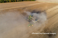 63801-13608 Harvesting soybeans and unloading into grain cart in fall-aerial  Marion Co. IL