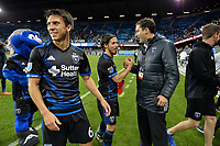 San Jose, CA - Saturday, March 11, 2017: Shea Salinas, Jahmir Hyka during a Major League Soccer (MLS) match between the San Jose Earthquakes and the Vancouver Whitecaps FC at Avaya Stadium.