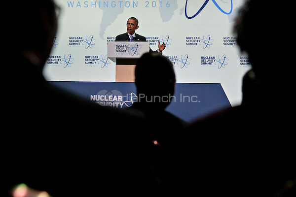 United States President Barack Obama speaks during a news conference at the Nuclear Security Summit in Washington, D.C., U.S., on Friday, April 1, 2016. After a spate of terrorist attacks from Europe to Africa, Obama is rallying international support during the summit for an effort to keep Islamic State and similar groups from obtaining nuclear material and other weapons of mass destruction. <br /> Credit: Andrew Harrer / Pool via CNP/MediaPunch