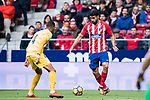 Saul Niguez Esclapez of Atletico de Madrid (R) competes for the ball with Jonas Ramalho Chimney of Girona FC during the La Liga 2017-18 match between Atletico de Madrid and Girona FC at Wanda Metropolitano on 20 January 2018 in Madrid, Spain. Photo by Diego Gonzalez / Power Sport Images